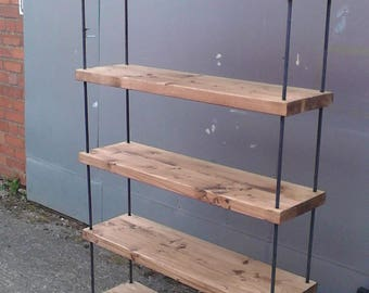 Fantastic Industrial Rustic Light Oak Hairpin Solid Timber & Steel Bookcase Shelving Shop Display
