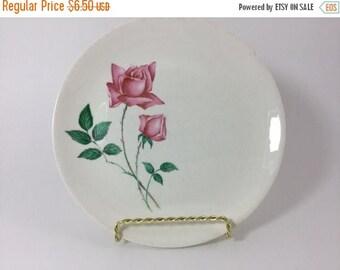 Sale Vintage Dessert Salad Bread and Butter Plate Pink Roses Rosebuds Rosebud Unmarked Plate