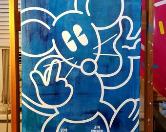 HAPPY RAT NO 0007 Unframed 16 x 20 Acrylic Painting on Canvas Blue and White Abstract