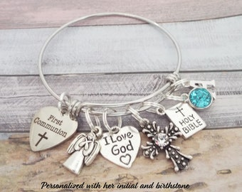 First Communion Charm Bracelet, Goddaughter Gift, Personalized Gift for Confirmation, Christian Jewelry Gift, Personalized Jewelry