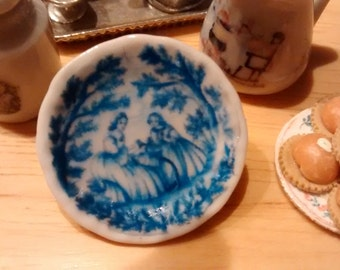 Dolls House miniature Blue Mother & Daughter Plate