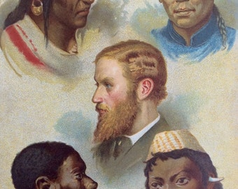 Antique Print 1890 Chromolithograph  ETHNOLOGY Victorian Print Ethnographic RACES of Man