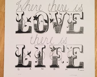 Love Quote 8x10 Handlettered Print