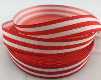 """Red and white Stripes Grosgrain Ribbons, Red and white striped ribbons, Available in 5/8"""" or 7/8"""""""