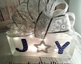 Christmas, Joy lighted  block, glass block, joy, gift