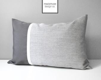 Decorative Grey Outdoor Pillow Cover, Decorative Pillow Case, Color Block Pillow Case, Granite Sunbrella Cushion Cover, Mazizmuse