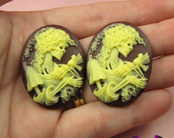 2 pc VICTORIAN ZOMBIE with DOVE Lolita Skeleton Maroon Resin Cameos 30x40mm cabochons