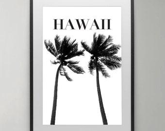 Palm trees Print, Typography Art, Summer Print, Hawaiian Art, Hawaii, Instant Download, Beach Art Print, Home decor, Typography Poster