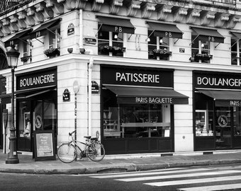 Paris black and white photography, Paris photography, black and white photo, Paris bakery, boulangerie, patisserie, fine art print