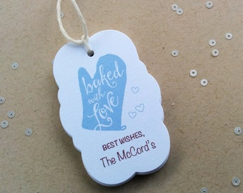Baked with Love - Personalized baking tags with oven mitt - Custom Bakers tags - Cooking party tags - customized holiday treat tags (TM-07