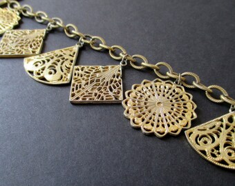 CHARM BRACELET * Six Filigree Charms * Gold Tone * Gift For Her