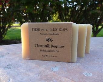 Chamomile Rosemary Herbal Shampoo Bar, Handmade Soap, Cold Process Soap