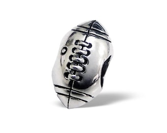 Silver Football or Rugby Charm Bead, fits Pandora Bracelets