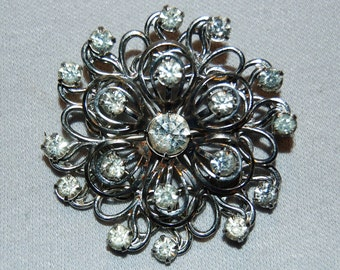 Large Rhinestone Brooch, Clear Sparkling, Vintage old jewelry
