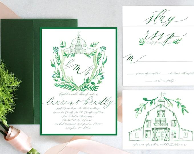 PRINTABLE Wedding Invitation Suite | Barn Crest