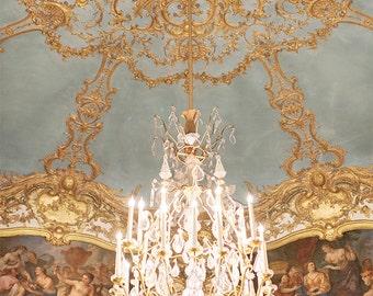 Paris Chandelier Photography - Chandelier of the Princess de Soubise, Golden Chandelier Print, French Home Decor, Large Wall Art