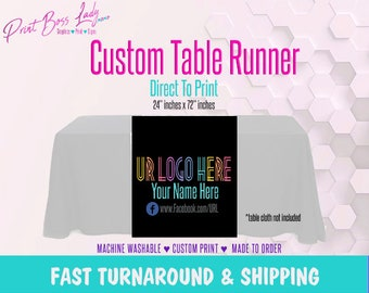 LLR Custom Black Table Runner Full Color Add Your Logo | Fast Turn Around | LLR Fashion Consultant Table Runner | Next Day Shipping