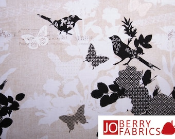 Birdsong Birds and Butterflies Fabric by Timeless Treasures, Quilt or Craft Fabric, Fabric by the Yard.
