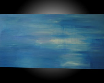 """I got the Blues, Baby.  Original Abstract Acrylic painting.  Blues, purples, white-24""""x48""""x1.5."""
