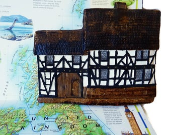 Vintage Clay House /Hand Painted  Cotswold Cottage Wall Hanging /Wall Mounted  House/ Pottery English Cottage