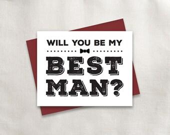 Printable Will you be my Best Man | Bold Type | Best Man, Groomsman, Usher, Ring Bearer, Jr. Groomsman Bundle | No. PW3007