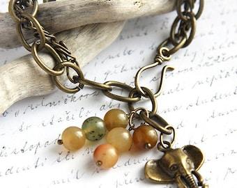 Mothers Day Gift Bohemian Jewelry Antique Bronze Charm Bracelet Lucky Elephant Bracelet Natural Multicolored Jade Stone Bracelet custom