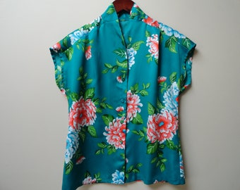 SALE Teal Floral Shirt Hawaiian Tropical Peonies Vintage S M