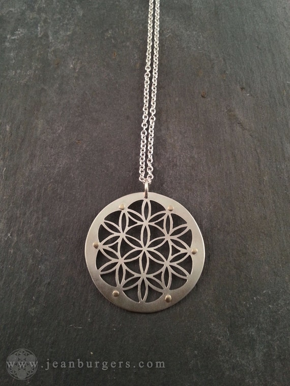 Silver flower of life pendant handcrafted sacred geometry mozeypictures Gallery