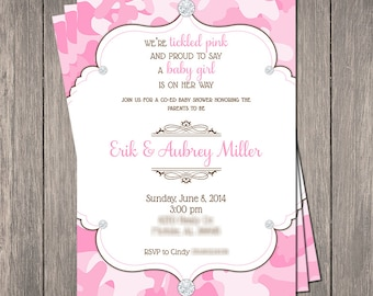 "Pink Camo Bling Baby Shower Invitation | Printable 5"" x 7"" 
