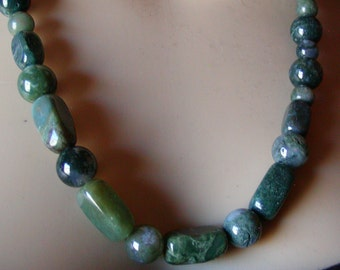 Green Moss/India Agate .925 Sterling Necklace
