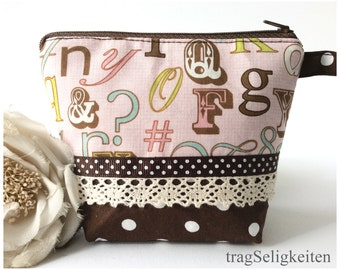 Pink zipper pouch, small padded cosmetic pouch, cosmetic bag, toiletry bag, alphabet print, travel bag, padded fabric pouch, pink and brown