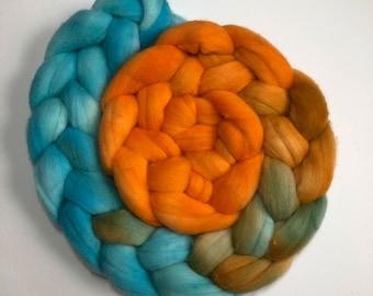 Flying Pumpkins - hand dyed merino roving - 4 oz spinning fiber - felting wool - hand painted spinning fiber - orange and blue roving - wool