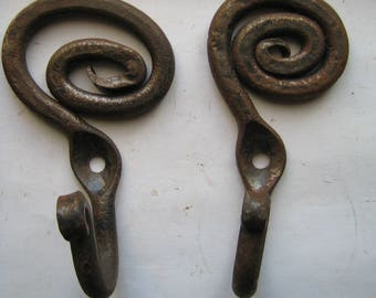 old Metal rusted  Iron Forged Hangers