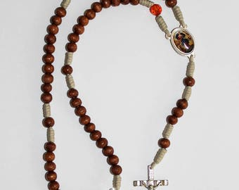 Mary Untier of Knots Rosary made of Natural Wood Our Lady Undoer of Knots