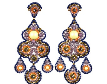 Beaded earrings Brick stitch earrings Beadwoven statement earrings Stud earrings Exclusive earrings Long earrings Colorful earrings