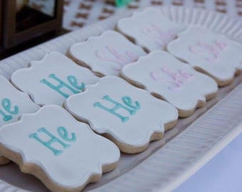 KNOXVILLE Gender Reveal Cookies He or She-1 Dozen