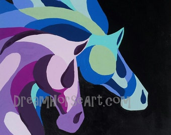 """Horses on canvas, Abstract pair of purple and blue equines, 20 x 20, by artist M Theresa Brown, Dream Horse Art """"Crossing the Line"""" USA"""