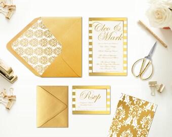 Gold Wedding Invitations In Gold Damasks & Gold Stripes / Wedding Invites RSVP Cards / Gold Weddings / Vintage Gold Damask Envelope Liner