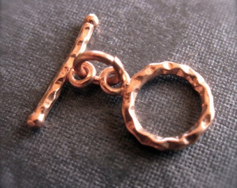 Little Simple Mini Hammered Toggle Clasp - affordable - Copper - 9mm