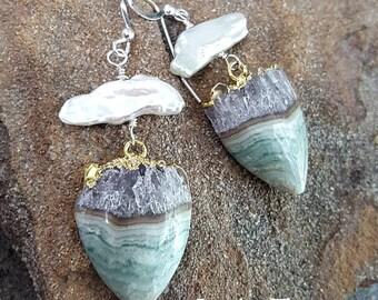 Amethyst Slice Earrings, Amethyst Druzy Earrings, Sterling Silver, February Birthstone, Amethyst Chakra Boho Jewelry, Womens Gift for Her
