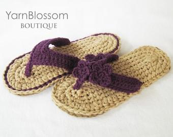 CROCHET PATTERN Indoor / Outdoor Violet Flip Flops (4 women's sizes) PDF Instant Download flip flops for women house slippers summer sandals