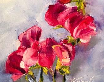 sweet pea // sweet pea painting // sweet pea art // floral art // floral painting // original art // daily painting // pink floral art