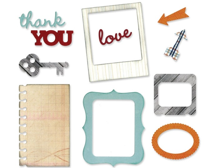 New! Sizzix Thinlits Die Set 11PK - Arrows, Frames, Key & Notebook Paper by Lori Whitlock 660778