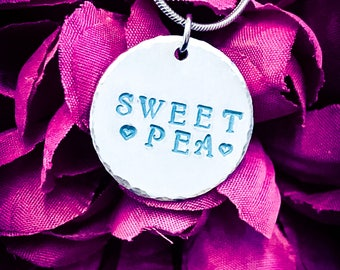 Sweet Pea Hand Stamped Necklace. Love Necklace, Heart Necklace, Sweet Necklace, Sweet Jewellery, Flower Jewelry, Girlfriend Gift, Wife Gift