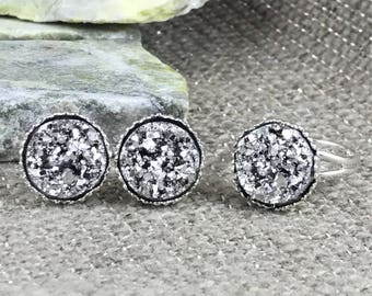 Silver Druzy Jewelry Set - Druzy - Earring and Ring Set - Bridesmaid Gift - Drusy - Adjustable Ring - Druzy Ring - Druzy Earrings -
