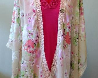 Floral Kimono/Sheer Tunic/Feminine Top/Flower Shirt/Pastel and Lace Overshirt