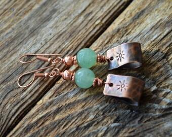 Rustic Copper Stamped Earrings,Green Aventurine ,Boho Copper Earrings,Copper,Artisan Earrings,Gemstone Copper Earrings,Rustic