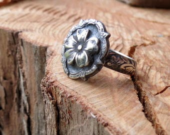 Flower Blossom Signet Ring in Oxidized Sterling Silver Victorian Style Button Ring Gothic Flower Ring Cherry Blossom Ring Statement Ring