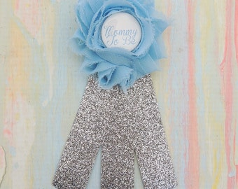 Mommy-To-Be Pin - Silver Baby Shower Pin - Blue and silver Corsage - Baby blue silver Mommy-To-Be - Silver Mommy To Be Corsage