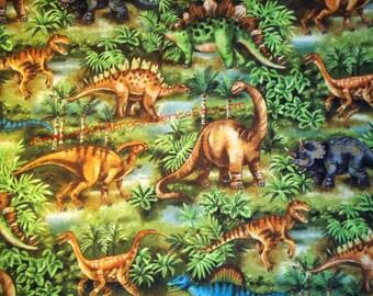 Dinosaur Jungle on a Very Fun Cotton Fabric - T-Rex, Triceratops, Stegosaurus and Brontosaurus - By the Fat Quarter, Half-Yard or Yard